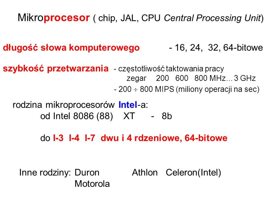 długość słowa komputerowego - 16, 24, 32, 64-bitowe
