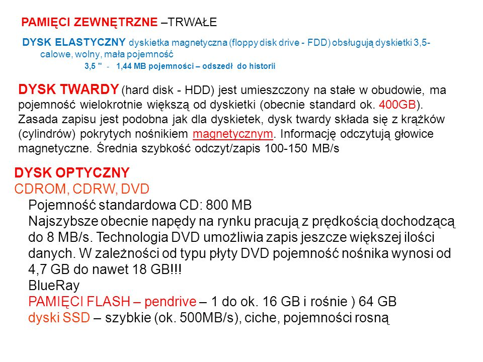 Pojemność standardowa CD: 800 MB