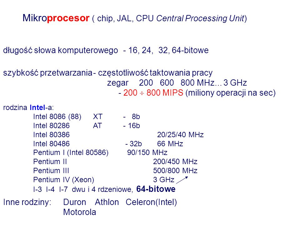 Mikroprocesor ( chip, JAL, CPU Central Processing Unit)