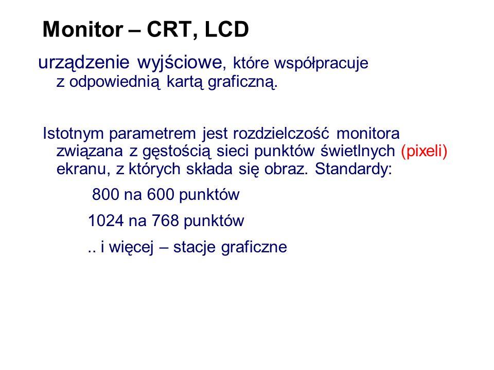 Monitor – CRT, LCD urządzenie wyjściowe, które współpracuje z odpowiednią kartą graficzną.
