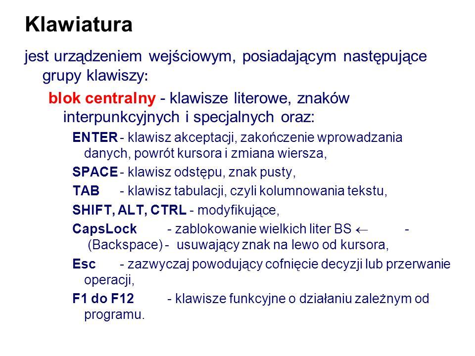 Klawiatura jest urządzeniem wejściowym, posiadającym następujące grupy klawiszy: