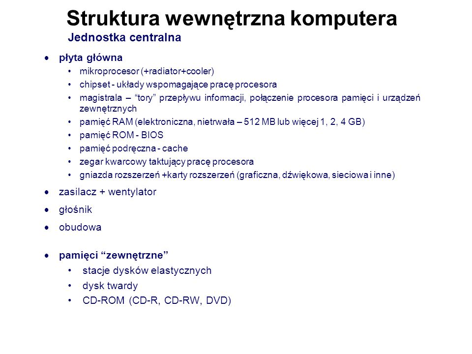 Struktura wewnętrzna komputera