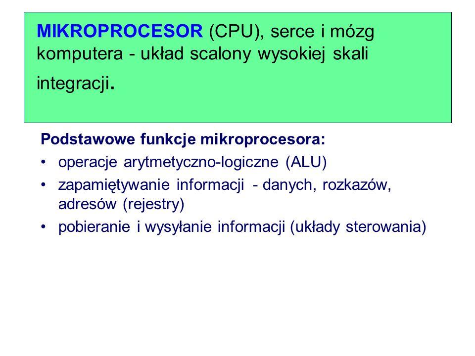 MIKROPROCESOR (CPU), serce i mózg komputera - układ scalony wysokiej skali integracji.