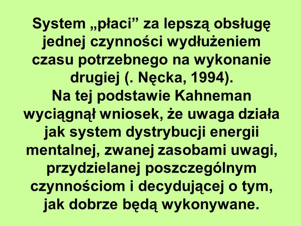 """System """"płaci za lepszą obsługę jednej czynności wydłużeniem czasu potrzebnego na wykonanie drugiej (. Nęcka, 1994)."""