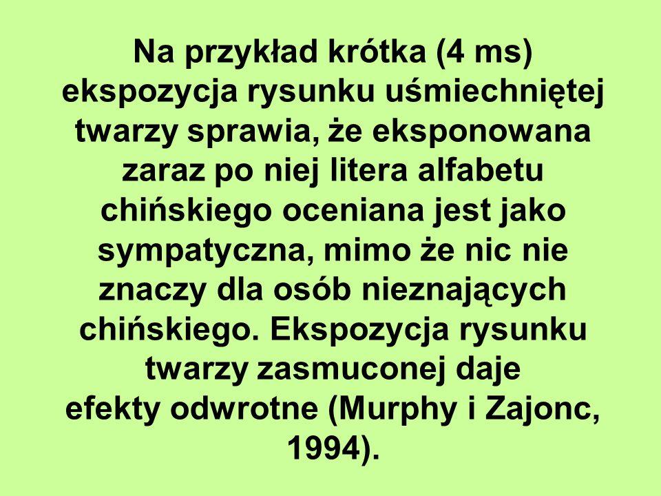 efekty odwrotne (Murphy i Zajonc, 1994).