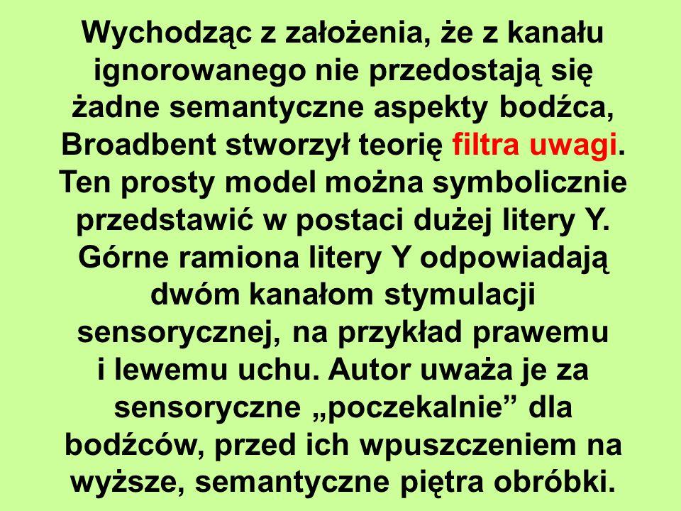 Wychodząc z założenia, że z kanału ignorowanego nie przedostają się żadne semantyczne aspekty bodźca, Broadbent stworzył teorię filtra uwagi. Ten prosty model można symbolicznie przedstawić w postaci dużej litery Y. Górne ramiona litery Y odpowiadają dwóm kanałom stymulacji sensorycznej, na przykład prawemu