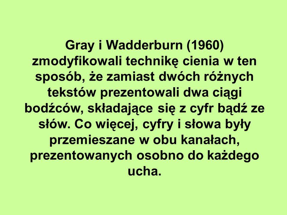Gray i Wadderburn (1960) zmodyfikowali technikę cienia w ten sposób, że zamiast dwóch różnych tekstów prezentowali dwa ciągi bodźców, składające się z cyfr bądź ze słów.