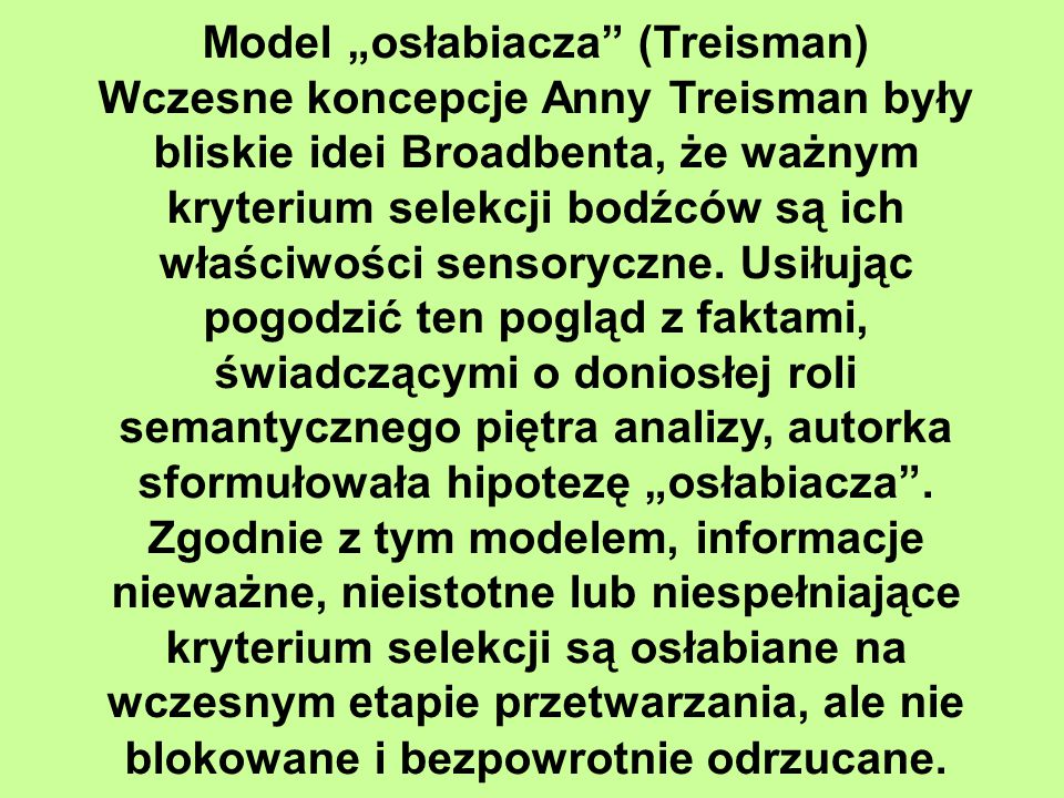 """Model """"osłabiacza (Treisman)"""