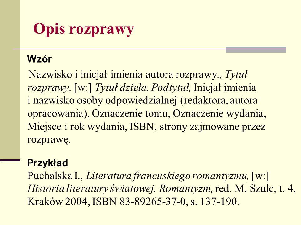 Opis rozprawy Wzór.