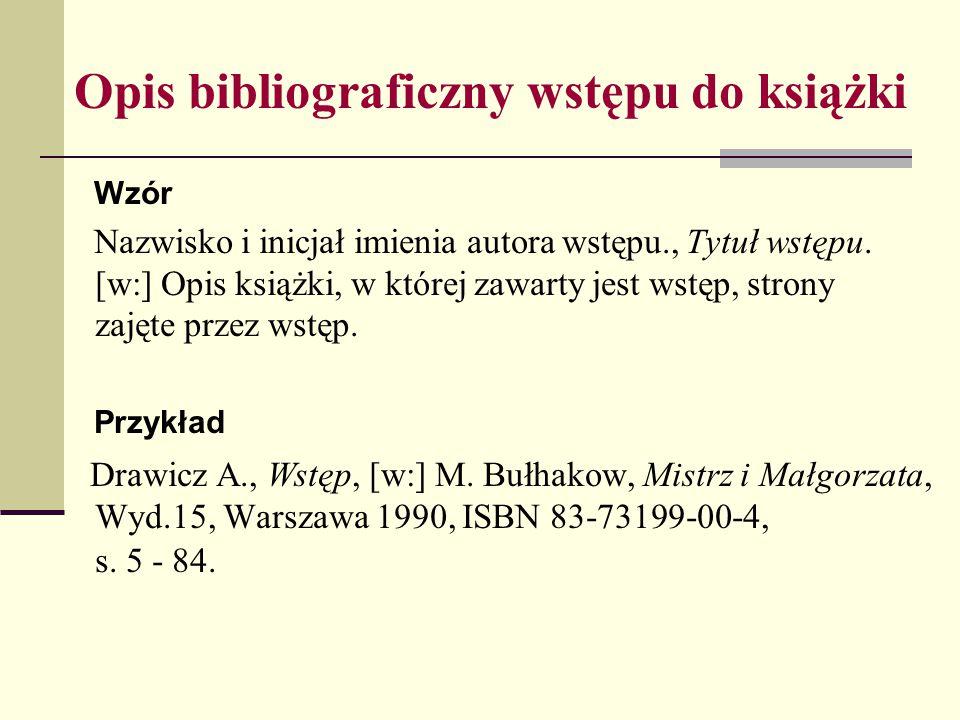 Opis bibliograficzny wstępu do książki