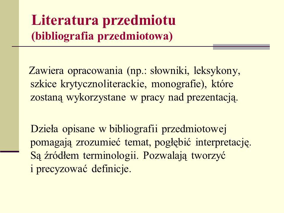 Literatura przedmiotu (bibliografia przedmiotowa)