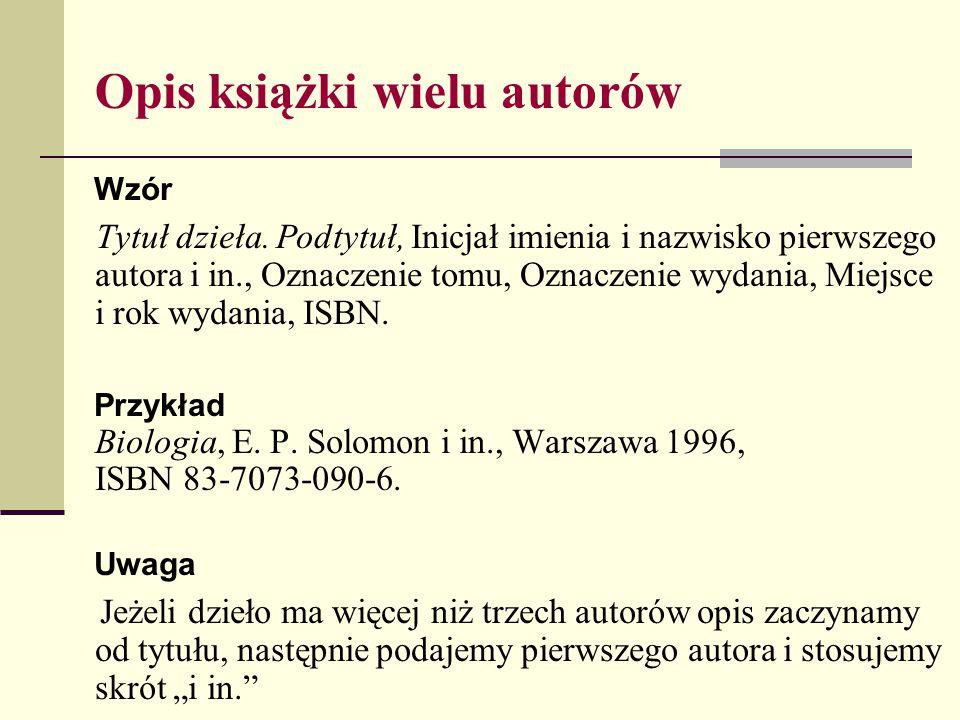 Opis książki wielu autorów