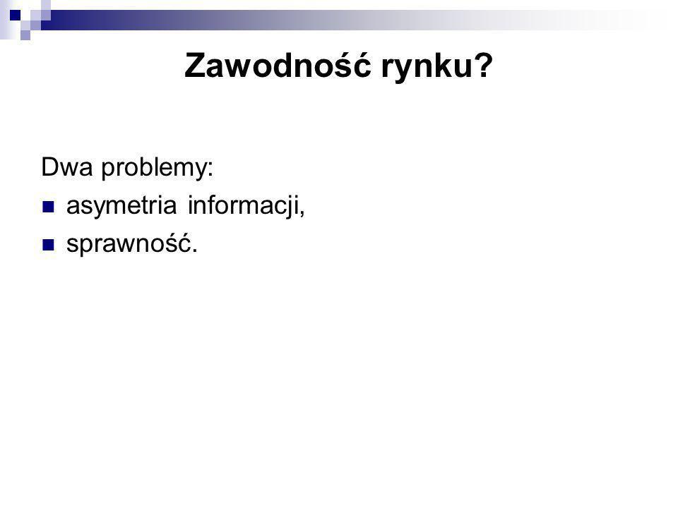 Zawodność rynku Dwa problemy: asymetria informacji, sprawność.