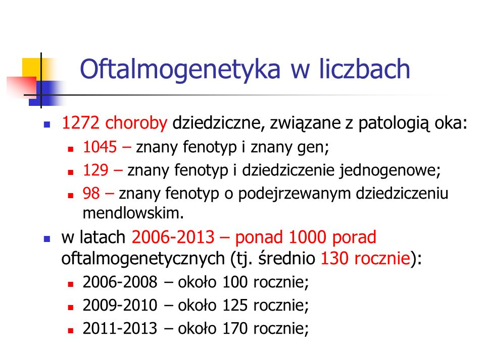 Oftalmogenetyka w liczbach