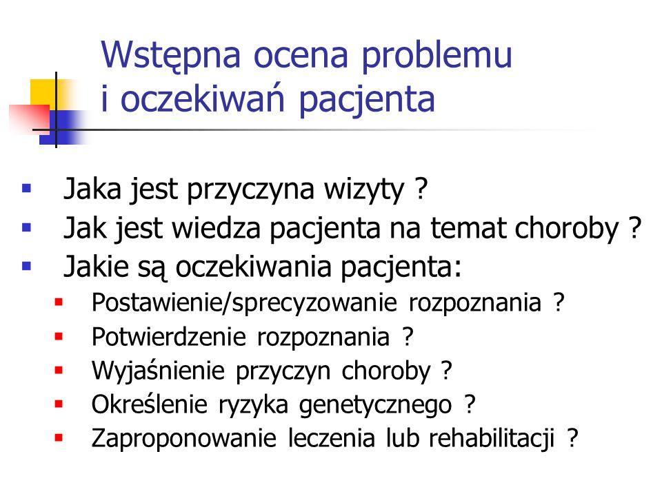 Wstępna ocena problemu i oczekiwań pacjenta