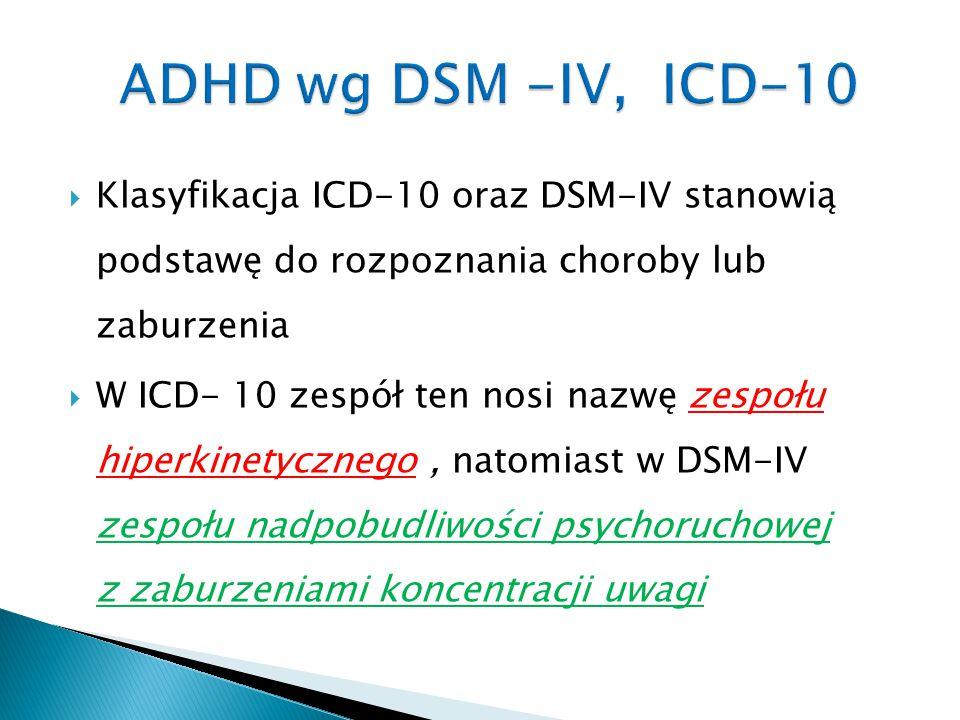 ADHD wg DSM -IV, ICD-10 Klasyfikacja ICD-10 oraz DSM-IV stanowią podstawę do rozpoznania choroby lub zaburzenia.