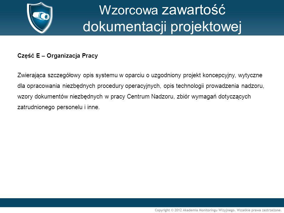Wzorcowa zawartość dokumentacji projektowej