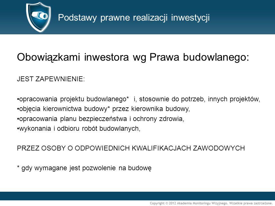 Podstawy prawne realizacji inwestycji