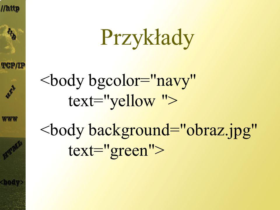 Przykłady <body bgcolor= navy text= yellow >