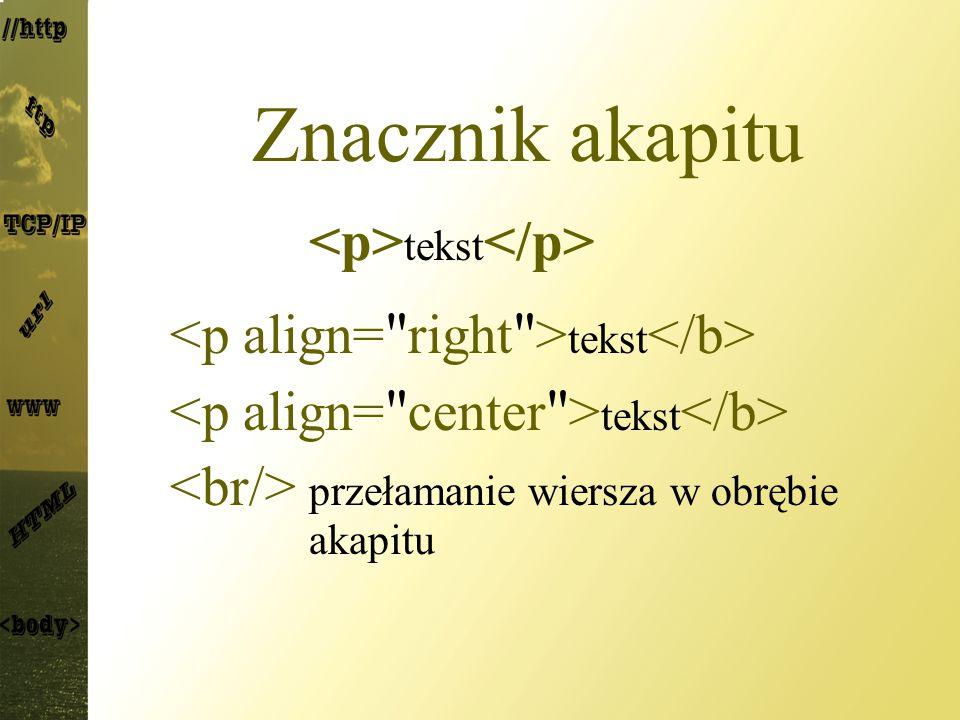 Znacznik akapitu <p>tekst</p>
