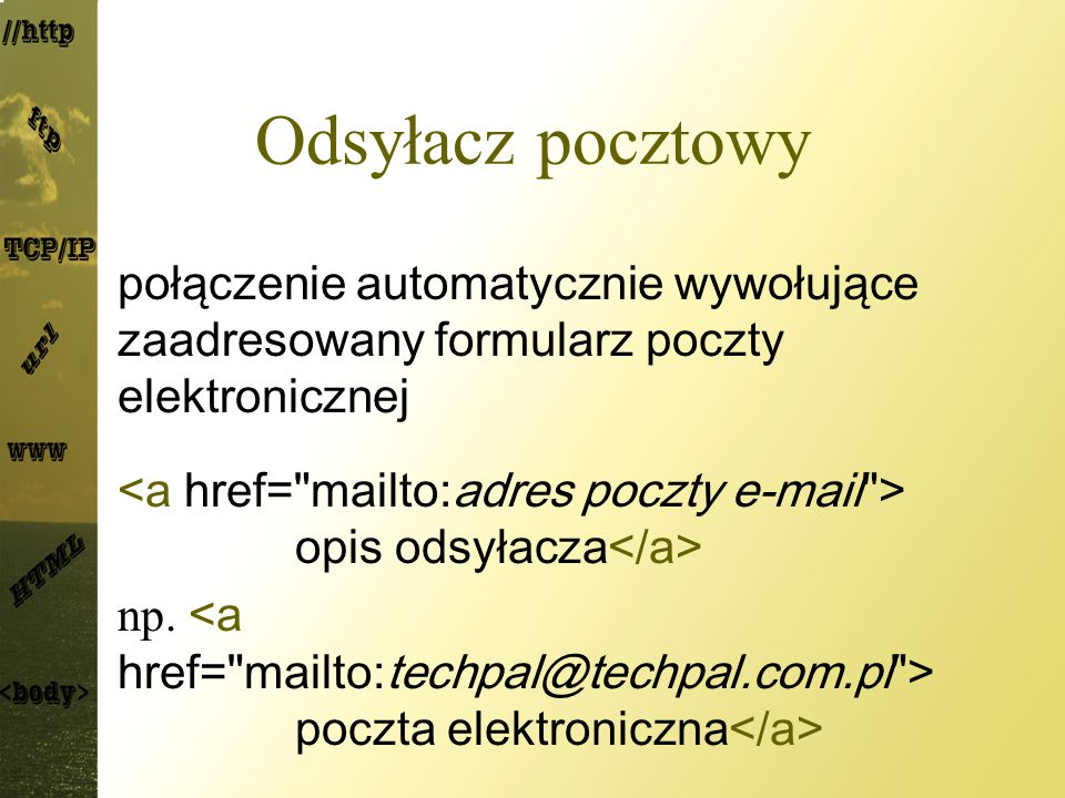 Odsyłacz pocztowy połączenie automatycznie wywołujące zaadresowany formularz poczty elektronicznej.