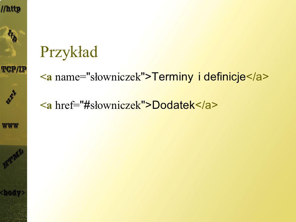 Przykład <a name= słowniczek >Terminy i definicje</a>