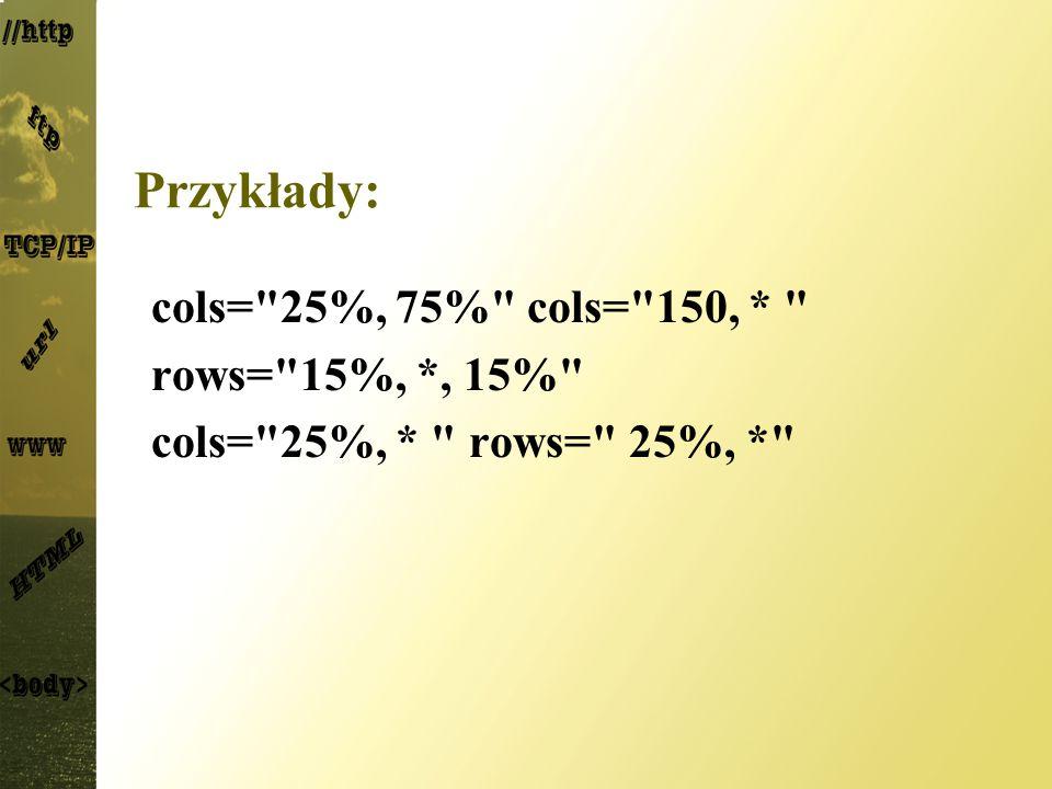 Przykłady: cols= 25%, 75% cols= 150, * rows= 15%, *, 15%