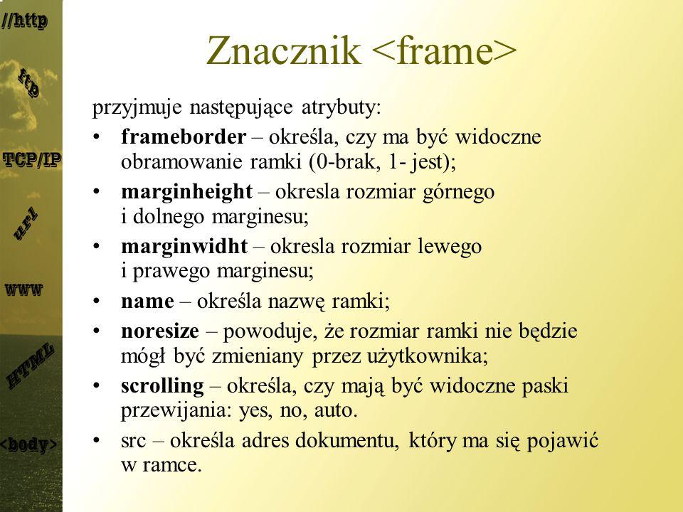 Znacznik <frame>