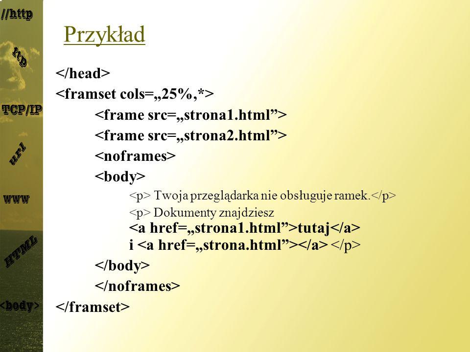 """Przykład </head> <framset cols=""""25%,*>"""