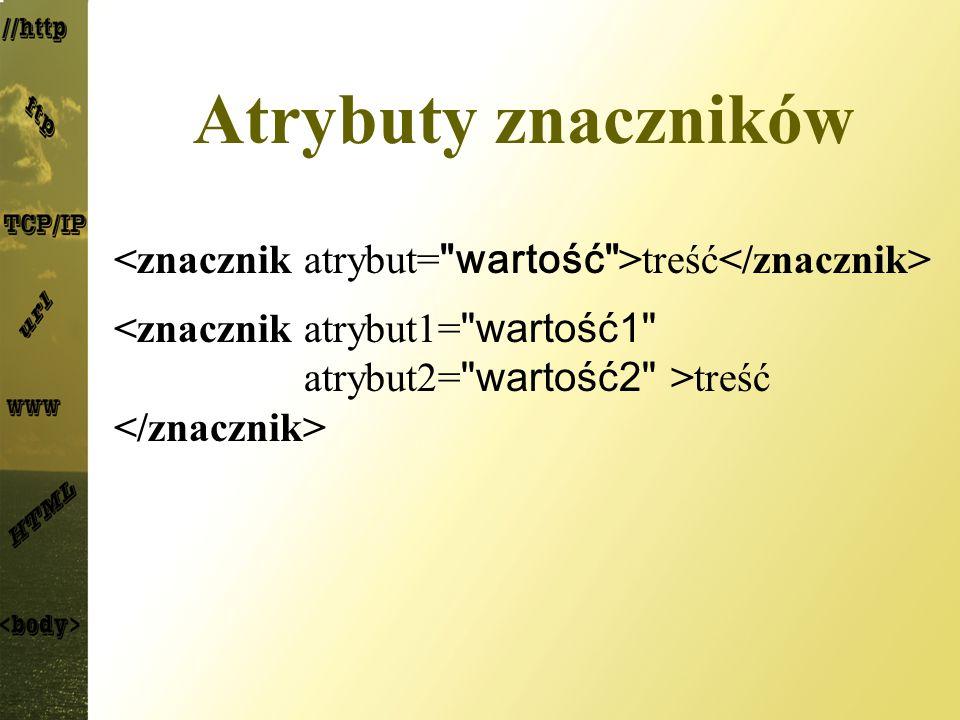 Atrybuty znaczników <znacznik atrybut= wartość >treść</znacznik> <znacznik atrybut1= wartość1 atrybut2= wartość2 >treść </znacznik>