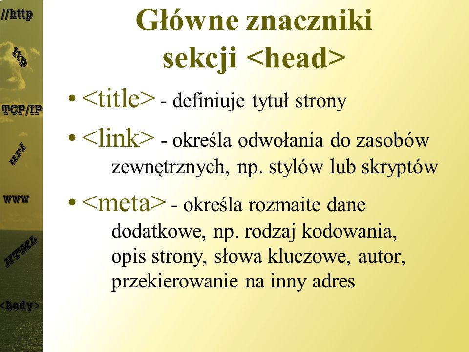 Główne znaczniki sekcji <head>
