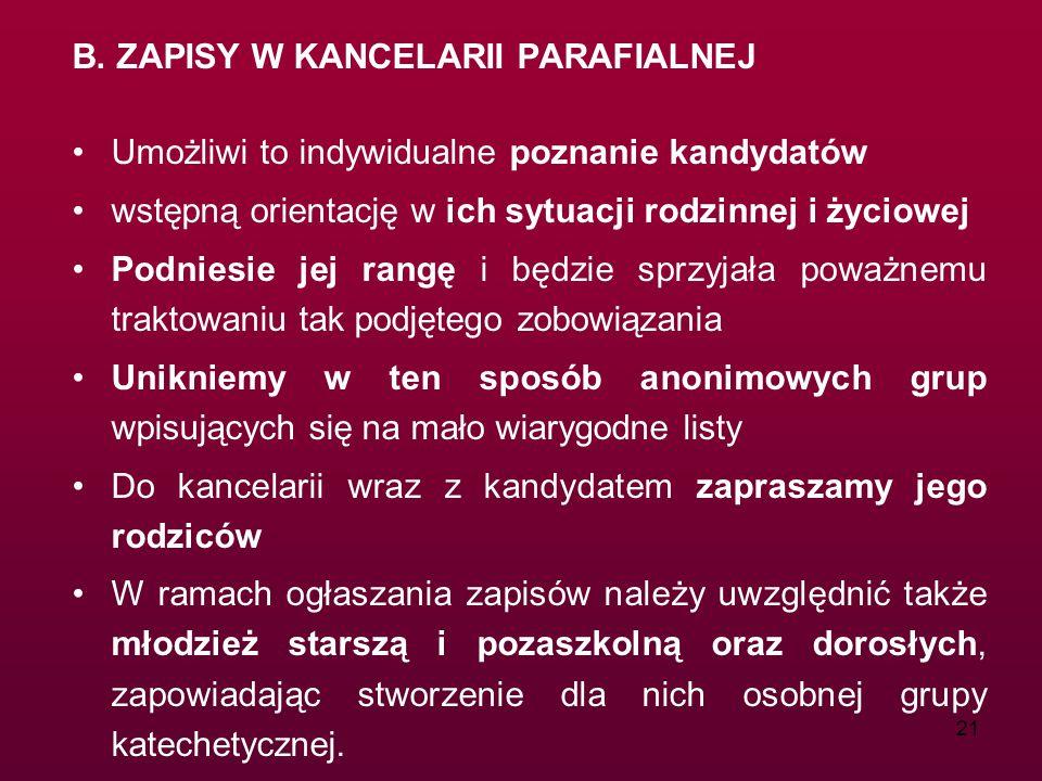 B. ZAPISY W KANCELARII PARAFIALNEJ