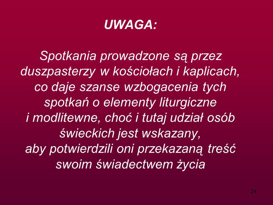UWAGA: Spotkania prowadzone są przez duszpasterzy w kościołach i kaplicach, co daje szanse wzbogacenia tych spotkań o elementy liturgiczne i modlitewne, choć i tutaj udział osób świeckich jest wskazany, aby potwierdzili oni przekazaną treść swoim świadectwem życia
