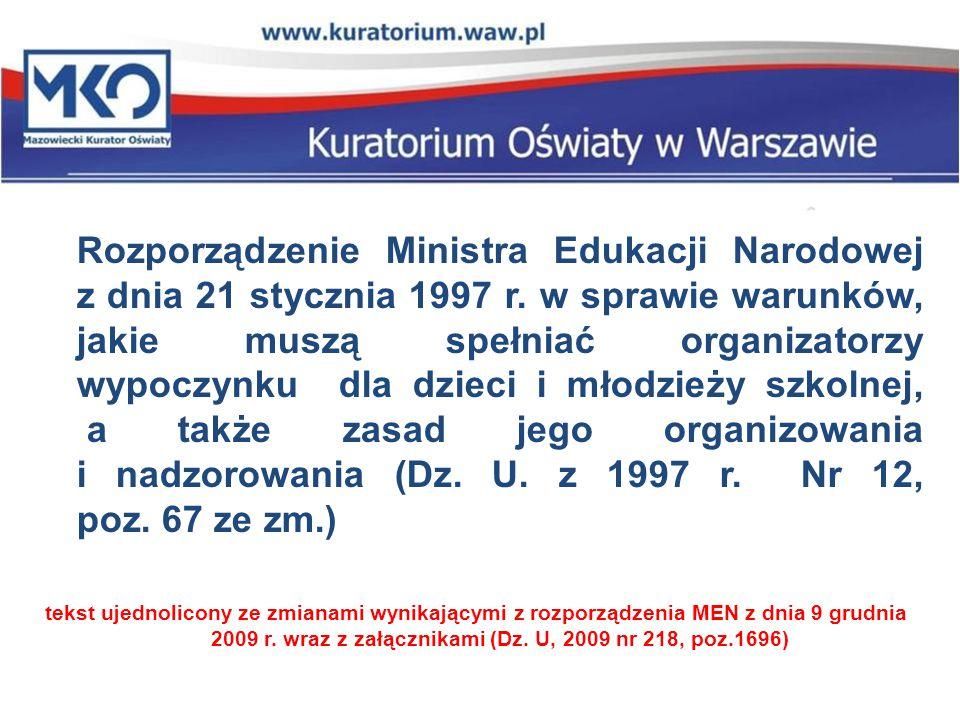 Rozporządzenie Ministra Edukacji Narodowej z dnia 21 stycznia 1997 r
