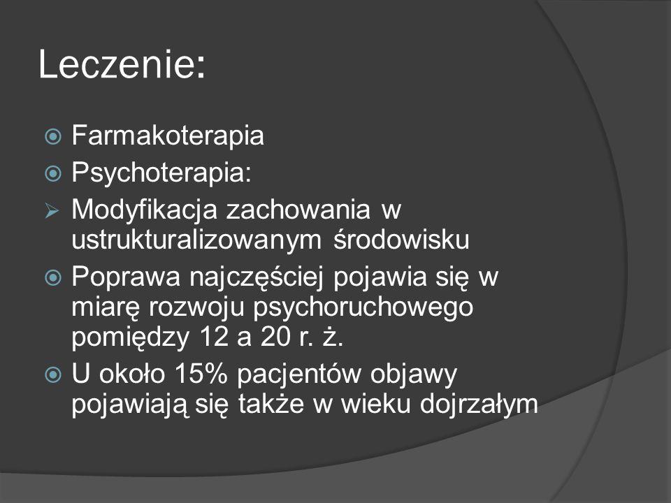 Leczenie: Farmakoterapia Psychoterapia: