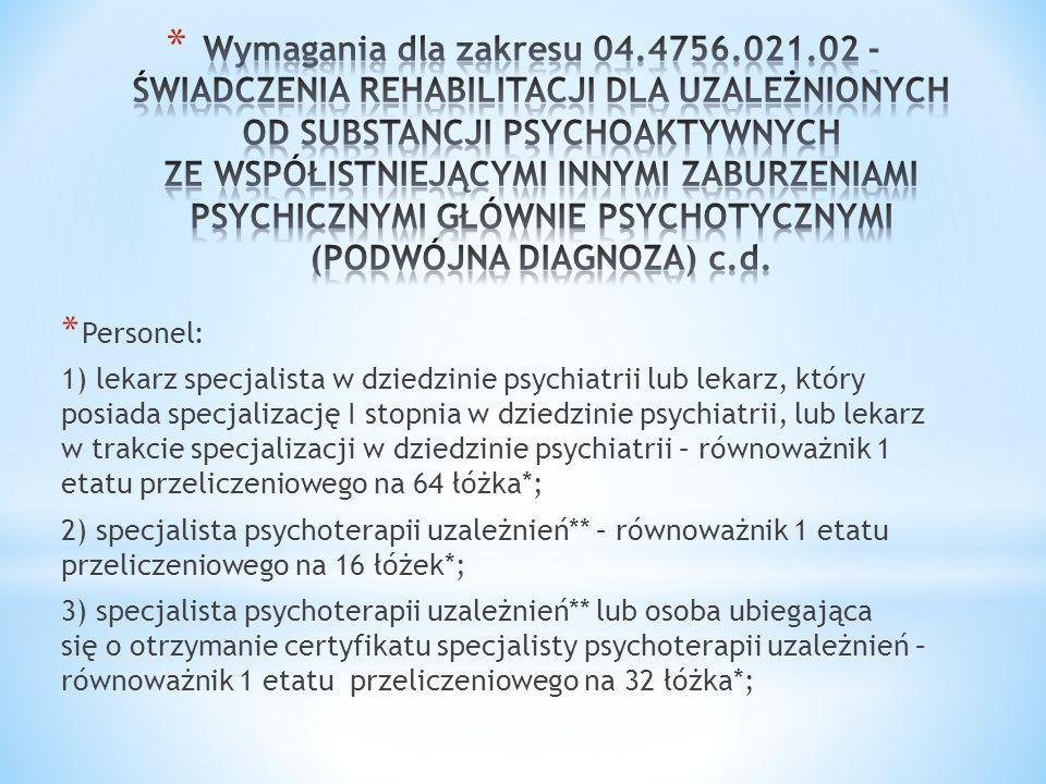 Wymagania dla zakresu 04.4756.021.02 - ŚWIADCZENIA REHABILITACJI DLA UZALEŻNIONYCH OD SUBSTANCJI PSYCHOAKTYWNYCH ZE WSPÓŁISTNIEJĄCYMI INNYMI ZABURZENIAMI PSYCHICZNYMI GŁÓWNIE PSYCHOTYCZNYMI (PODWÓJNA DIAGNOZA) c.d.