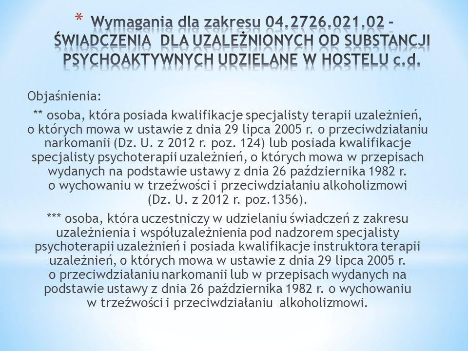 Wymagania dla zakresu 04.2726.021.02 - ŚWIADCZENIA DLA UZALEŻNIONYCH OD SUBSTANCJI PSYCHOAKTYWNYCH UDZIELANE W HOSTELU c.d.