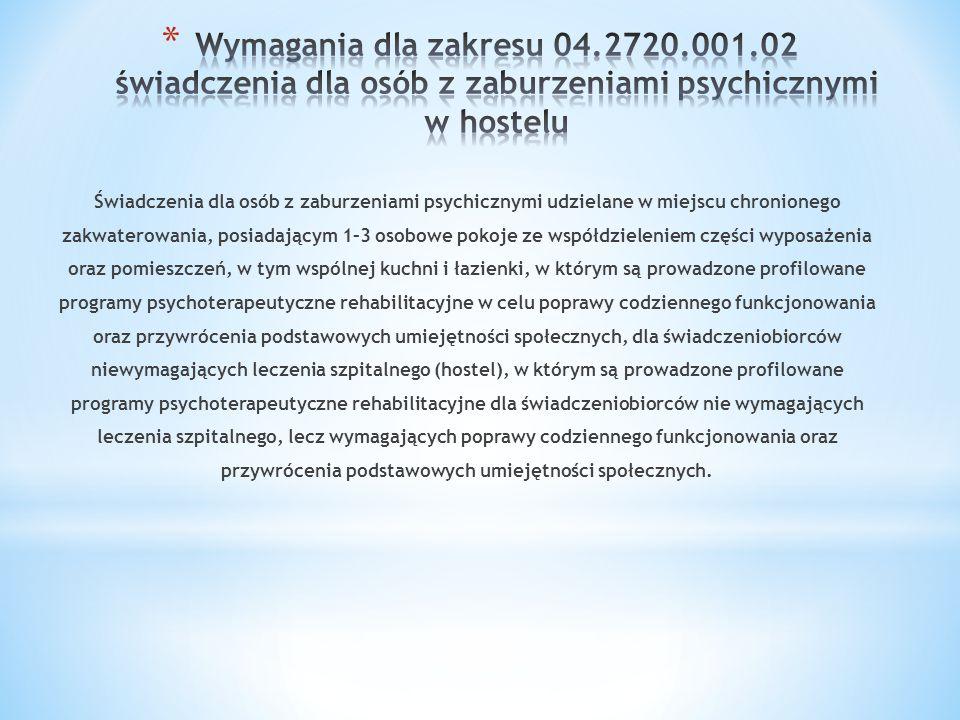 Wymagania dla zakresu 04.2720.001.02 świadczenia dla osób z zaburzeniami psychicznymi w hostelu