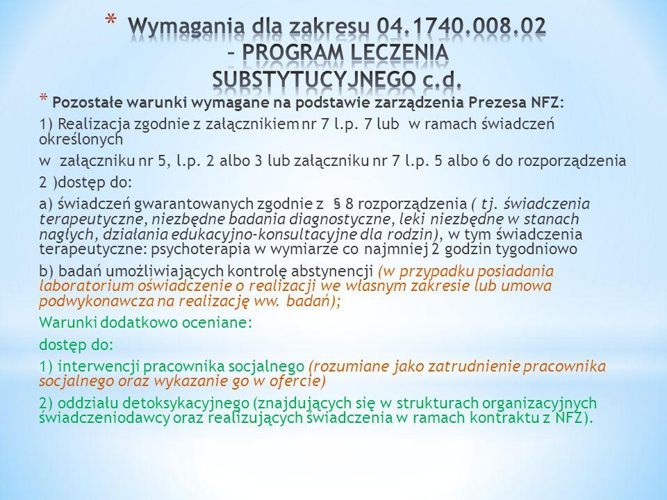 Wymagania dla zakresu 04.1740.008.02 – PROGRAM LECZENIA SUBSTYTUCYJNEGO c.d.