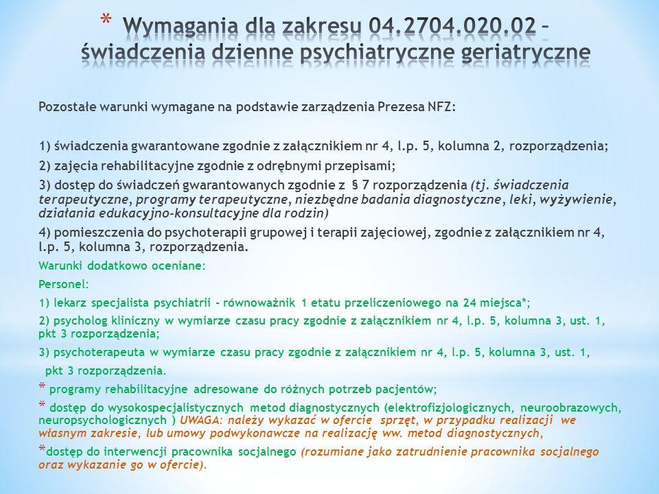 Wymagania dla zakresu 04.2704.020.02 – świadczenia dzienne psychiatryczne geriatryczne