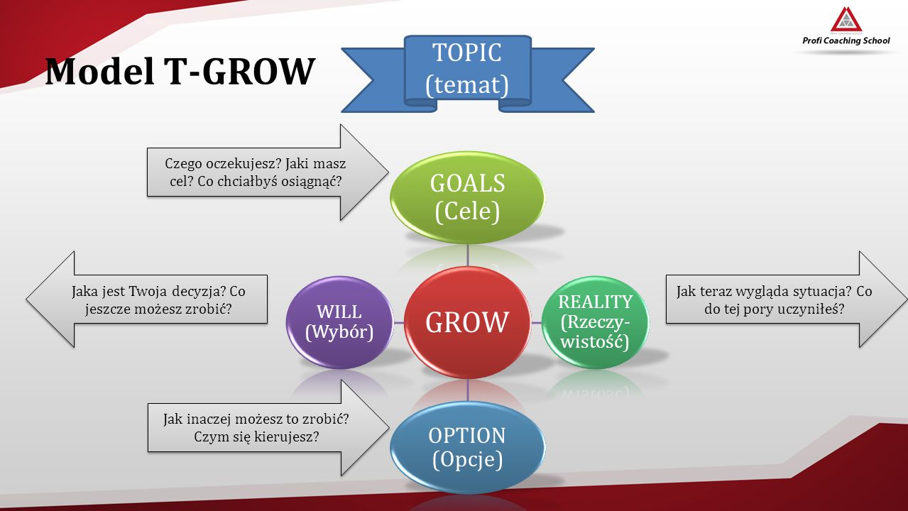 Model T-GROW GROW TOPIC (temat) GOALS (Cele) OPTION (Opcje)