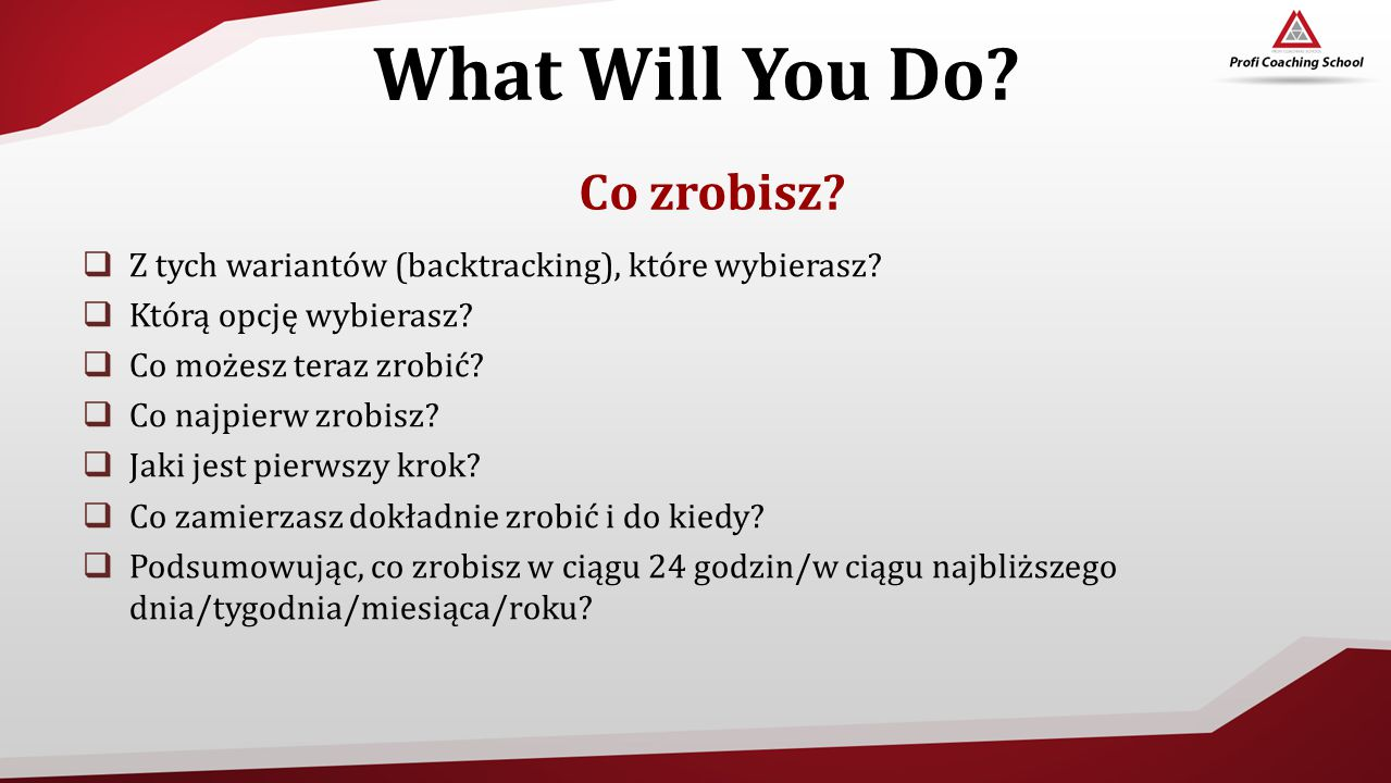 What Will You Do Co zrobisz