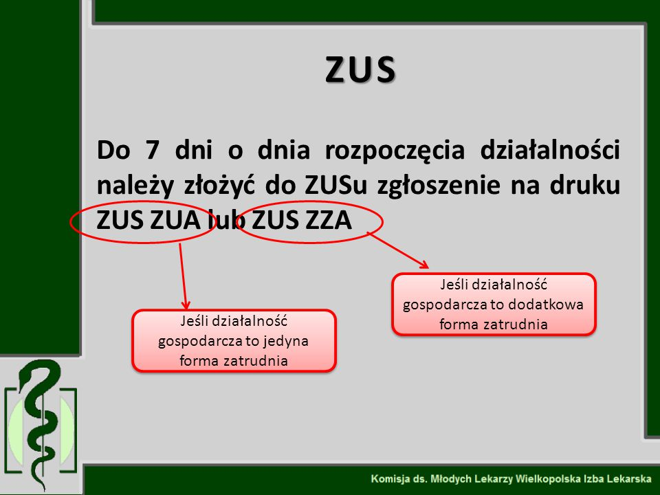 ZUS Do 7 dni o dnia rozpoczęcia działalności należy złożyć do ZUSu zgłoszenie na druku ZUS ZUA lub ZUS ZZA.