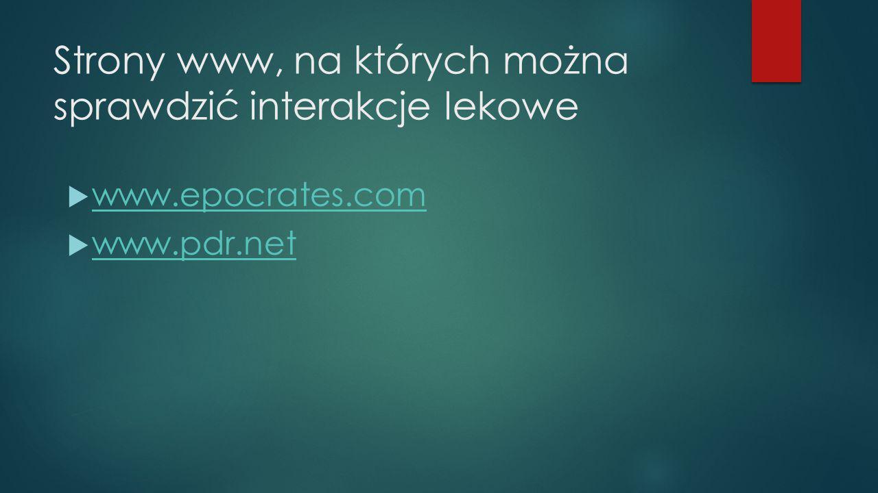 Strony www, na których można sprawdzić interakcje lekowe