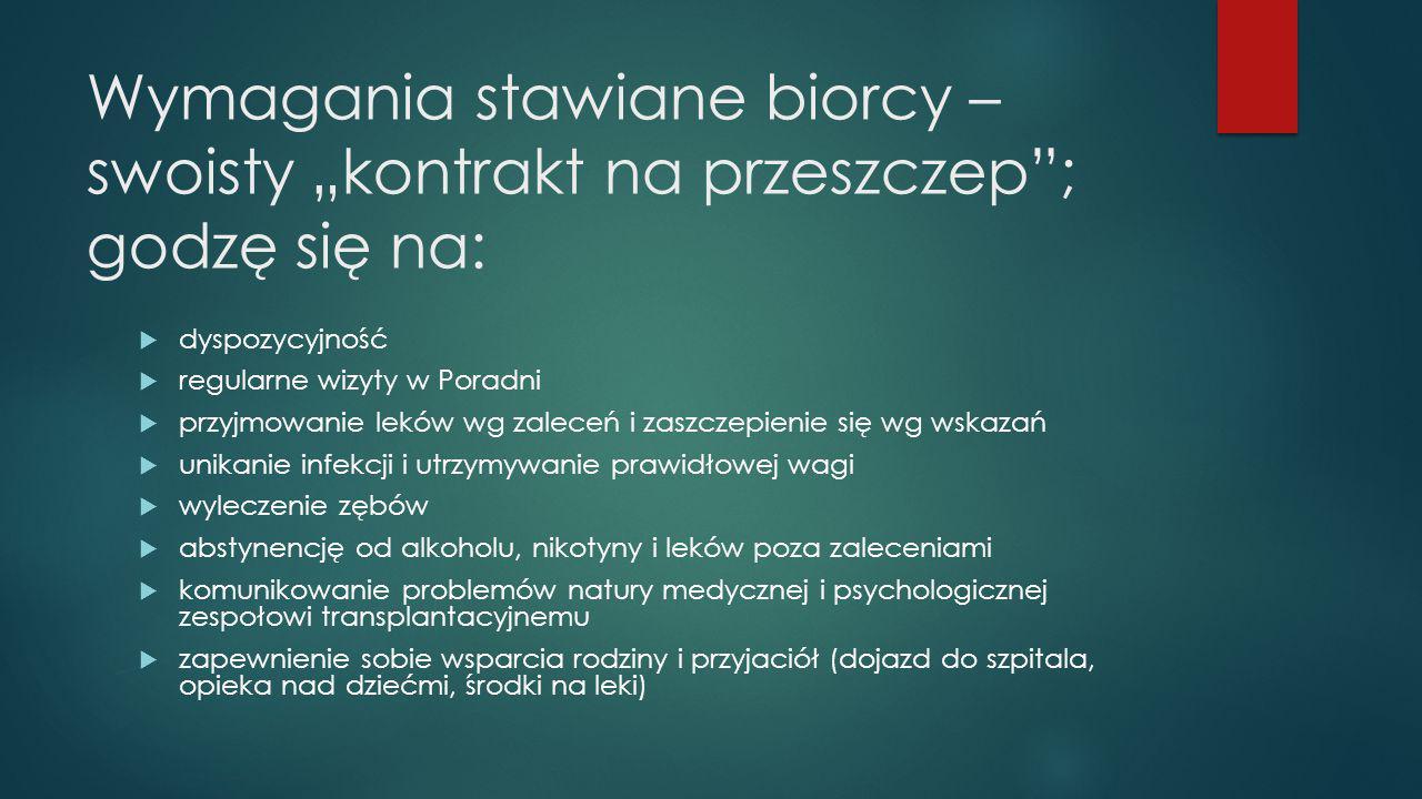 """Wymagania stawiane biorcy – swoisty """"kontrakt na przeszczep ; godzę się na:"""