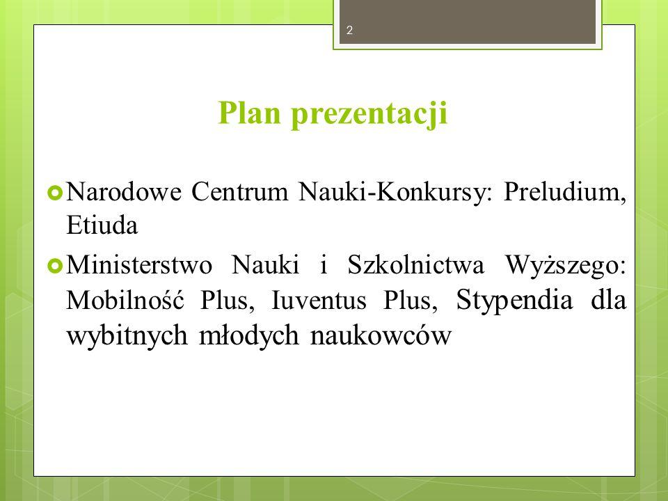 Plan prezentacji Narodowe Centrum Nauki-Konkursy: Preludium, Etiuda