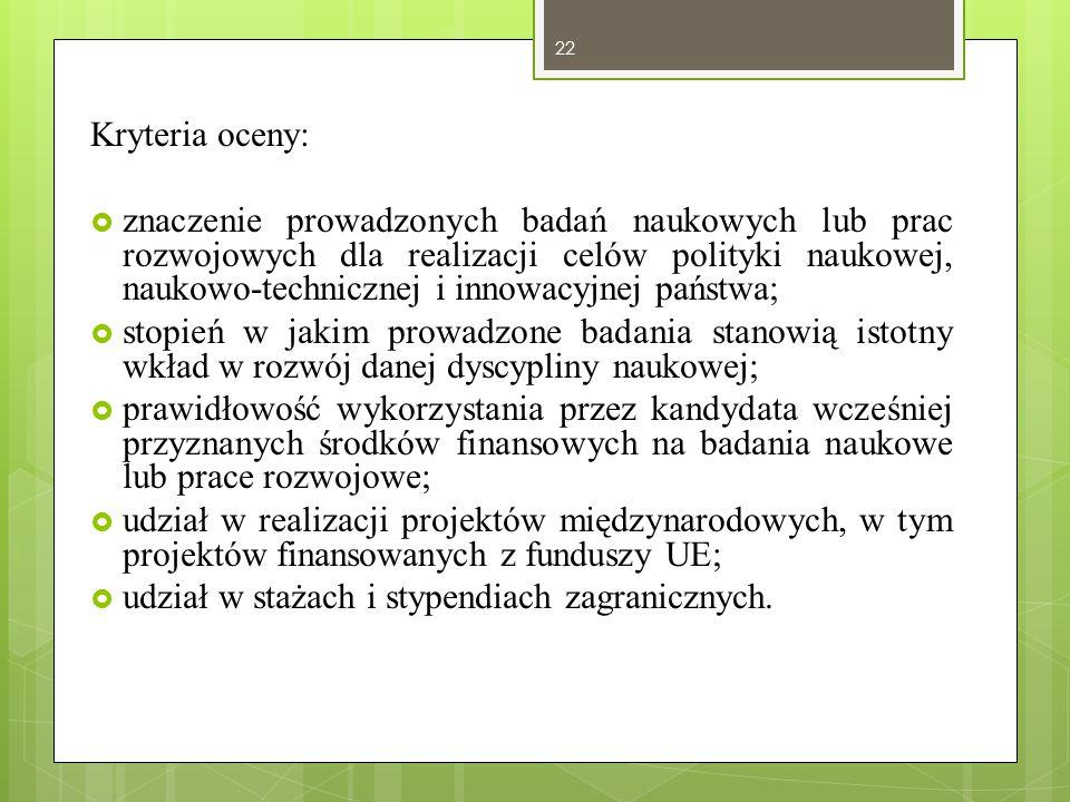 Kryteria oceny: