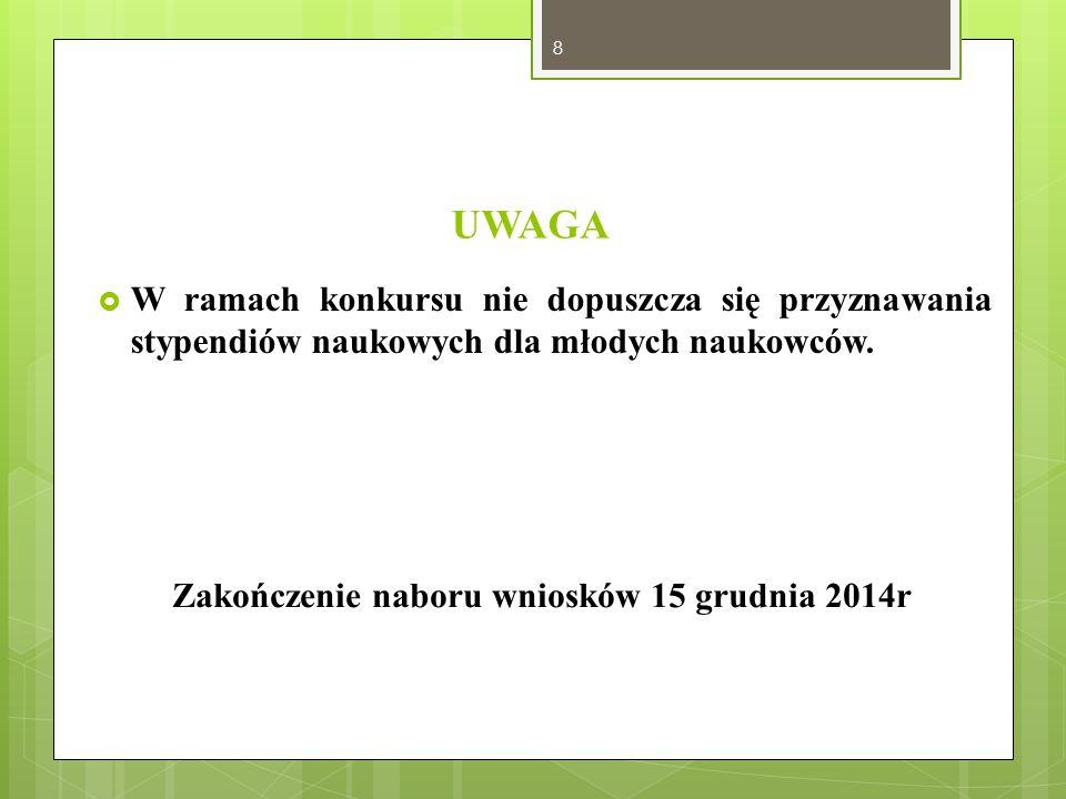 Zakończenie naboru wniosków 15 grudnia 2014r