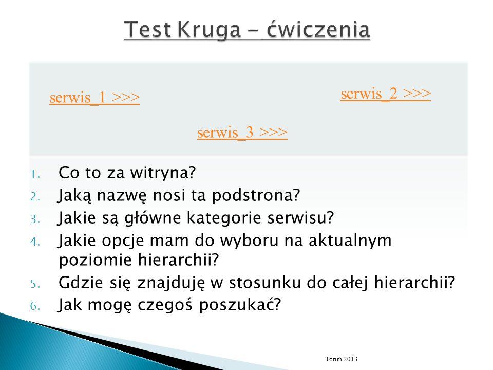 Test Kruga - ćwiczenia serwis_2 >>> serwis_1 >>>
