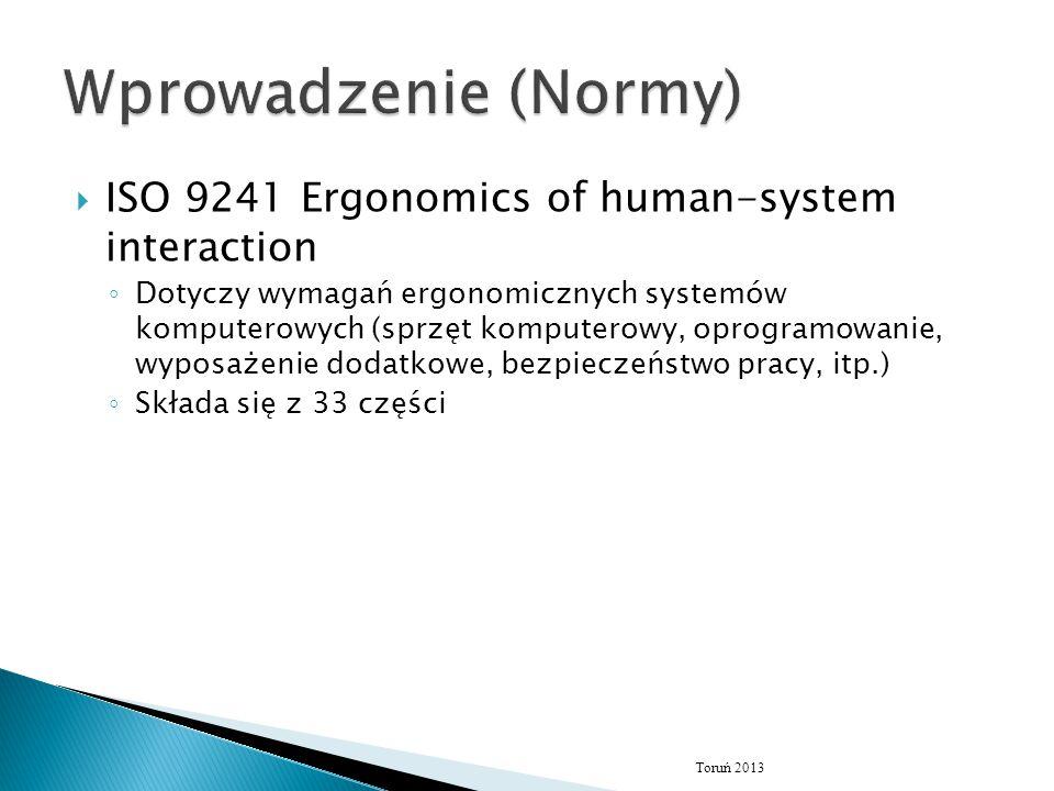 Wprowadzenie (Normy) ISO 9241 Ergonomics of human-system interaction